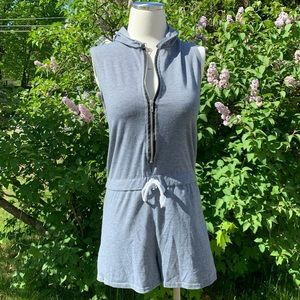 Grey Hooded Jumpsuit with Tie at Waist
